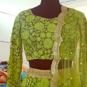 Moss Green Floral Embroidered Lehenga